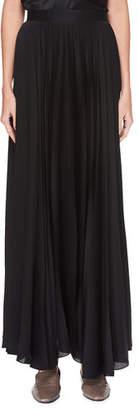 The Row Vailen Pleated Satin Maxi Skirt