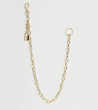 Designb London DesignB jean chain with padlock charm in gold