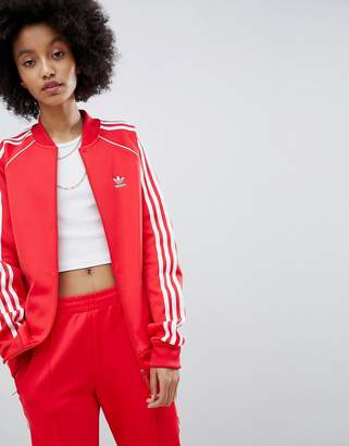 adidas adicolor Three Stripe Track Jacket In Red