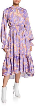 Three floor Lisbon Sisters Floral-Print Mock-Neck Blouson-Sleeve Midi Dress