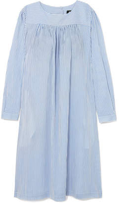A.P.C. Cassie Striped Cotton-poplin Dress - Blue