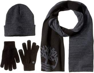 Timberland Men's Logo Scarf/Magic Glove with Embroidered Tbl Tree Logo/Watchcap