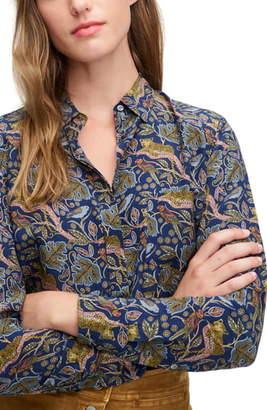 J.Crew Botanical Cheetah Print Button-Up Silk Shirt