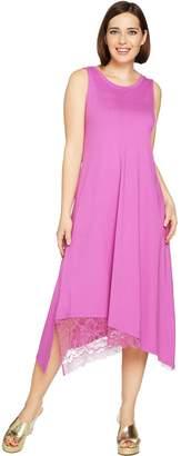 Logo By Lori Goldstein LOGO by Lori Goldstein Cotton Modal Knit Dress with Lace Hem