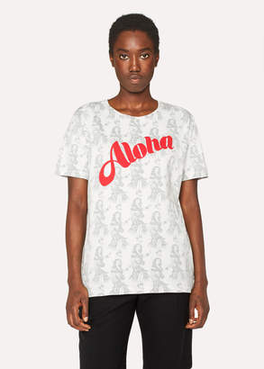 Paul Smith Women's Slim-Fit White 'Aloha' Print Cotton T-Shirt