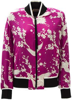 N°21 Black And Pink Japanese Print Bomber
