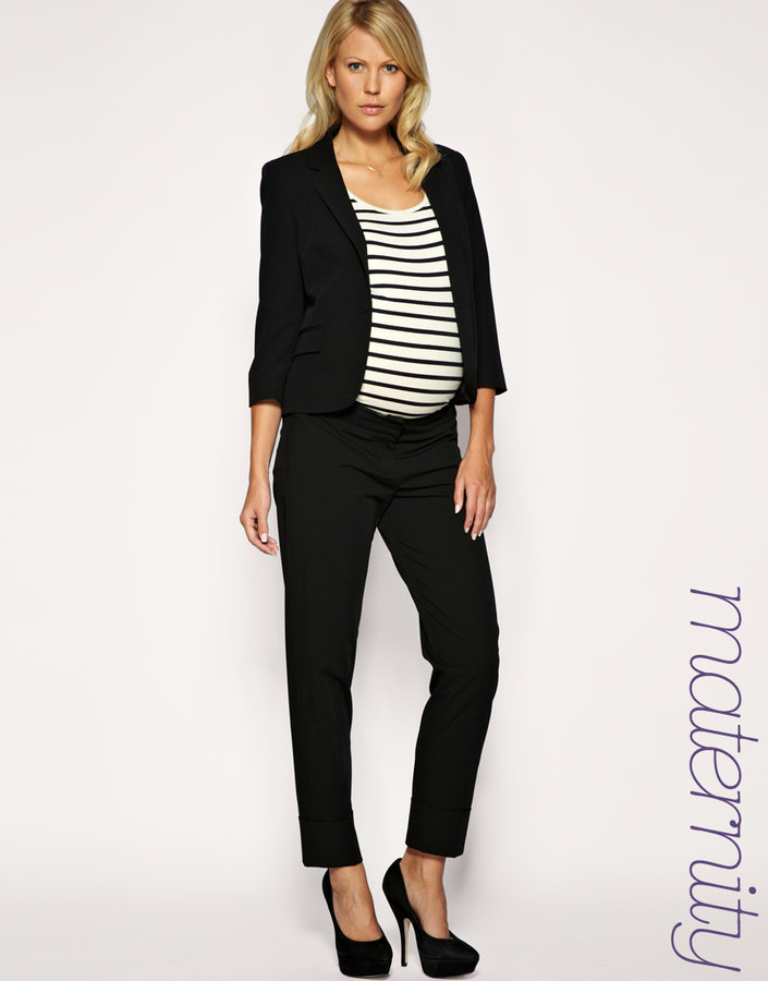French Connection Maternity Black Peg Pants Exclusive to ASOS
