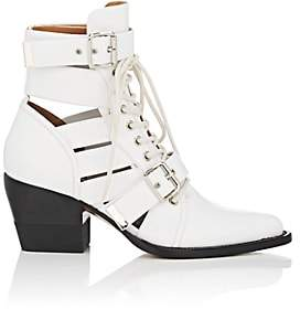 Chloé Women's Rylee Double Buckle Leather Ankle Boots-White