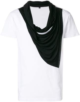 Unconditional double drape neckerchief scarf T-shirt