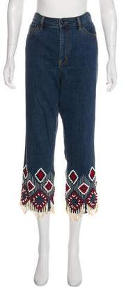 Tory Burch High-Rise Embellished Jeans
