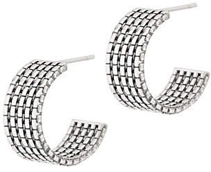 "JAI Sterling Silver Wide Box Chain 3/4"" HoopEarrings"