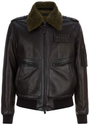 Bottega Veneta Leather Aviator Jacket
