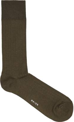 Reiss FELA RIBBED SOCKS Khaki