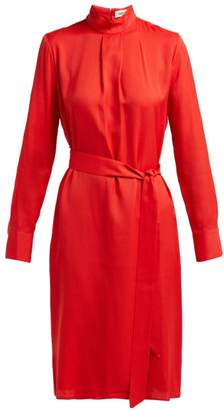 Cefinn - Tie Waist Jacquard Dress - Womens - Red