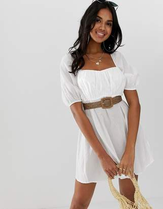 Asos Design DESIGN beach milkmaid dress with natural belt