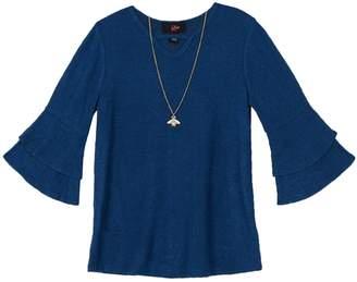 Amy Byer Iz Girls 7-16 IZ Fuzzy Bell Sleeve Top with Necklace