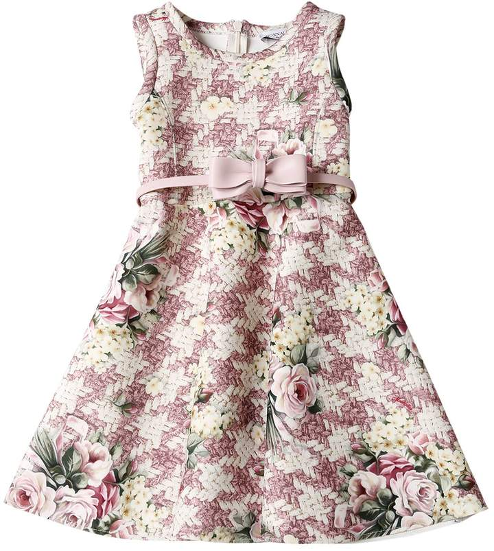 Floral Houndstooth Print Neoprene Dress