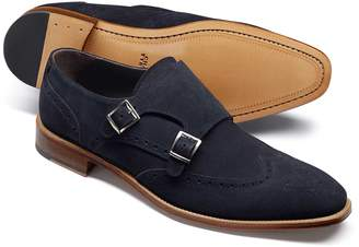 Charles Tyrwhitt Navy Suede Double Buckle Monk Shoe Size 14