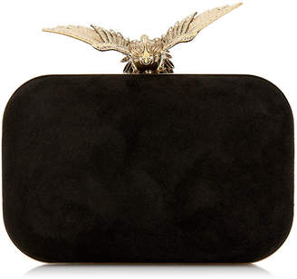 At Jimmy Choo Cloud Black Suede Clutch Bag With Gold Bird Clasp