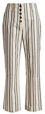 3.1 Phillip Lim Women's Striped High-Rise Cotton Pants - Size 0