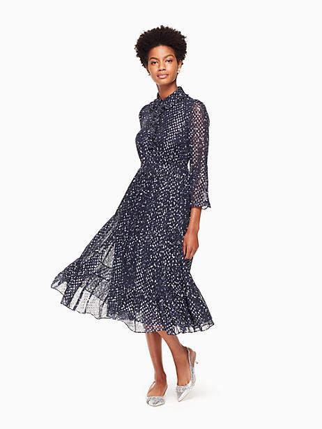 Night sky dot midi dress