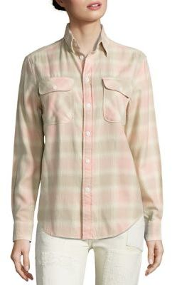 Polo Ralph Lauren Cotton Flannel Plaid Shirt $125 thestylecure.com