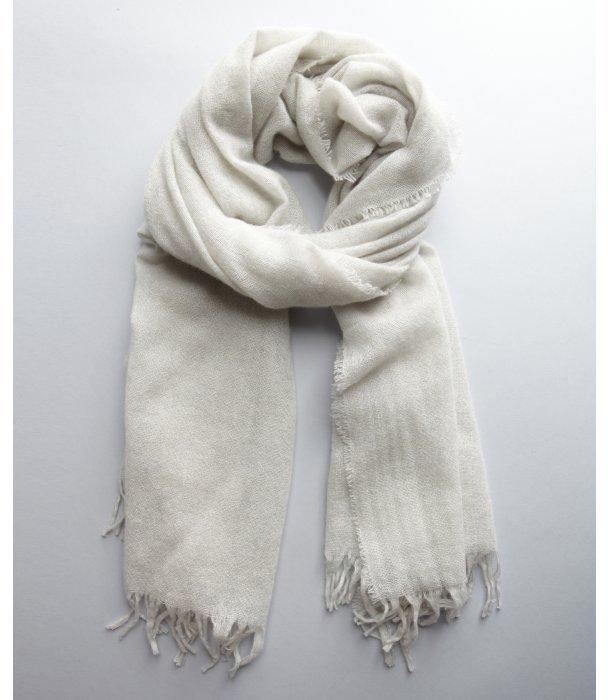 Amicale light grey cashmere fringe scarf