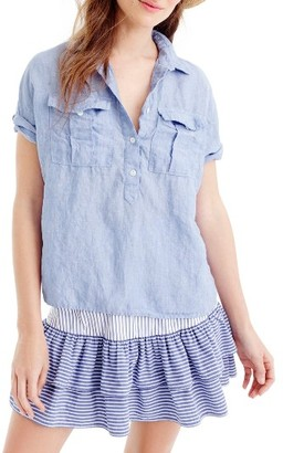 Women's J.crew Cross Dyed Irish Linen Popover Shirt $79.50 thestylecure.com