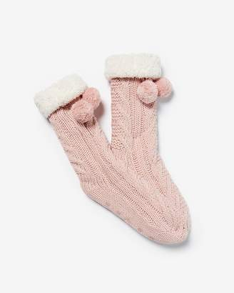 Express Cable Knit Fleece Lined Pom Socks
