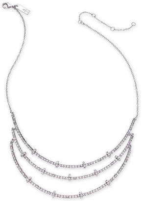 """INC International Concepts I.n.c. Silver-Tone Crystal & Rondelle Bead Triple-Row Necklace, 15"""" + 3"""" extender"""