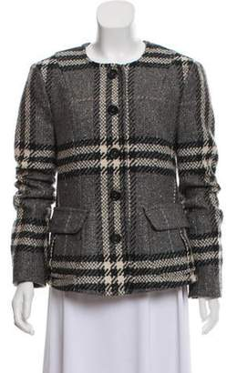 Burberry Metallic-Accented Exploded Check Jacket Grey Metallic-Accented Exploded Check Jacket