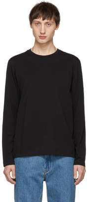 Helmut Lang Black Overlay Logo Long Sleeve T-Shirt