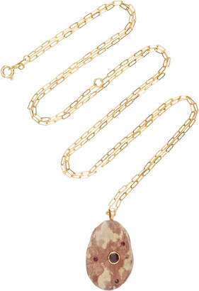 Cvc Stones Tigresse 18K Gold Stone And Ruby Necklace