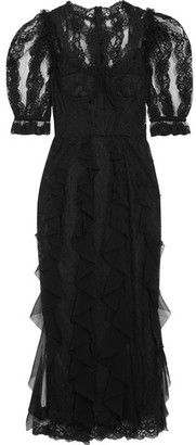 Dolce & Gabbana - Ruffled Lace And Tulle Midi Dress - Black $8,995 thestylecure.com