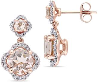 Concerto Morganite and 0.4 CT. T.W. Diamond Quatrefoil Tiered Earrings in 14K Rose Gold