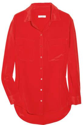 Equipment Signature Washed-silk Shirt - Tomato red