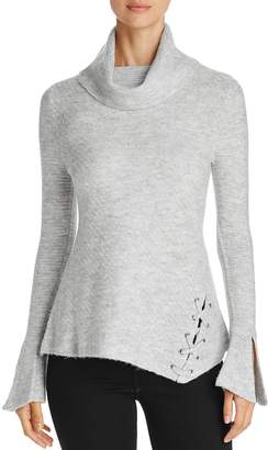 Heather B Cowl Neck Lace-Up Turtleneck Sweater