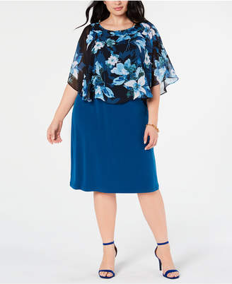 Connected Plus Size Cape Overlay A-Line Dress