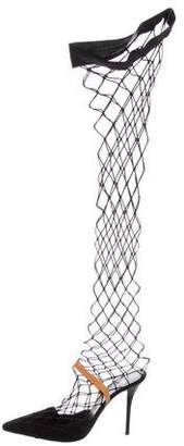 Helmut Lang Fishnet Over-The-Knee Boots