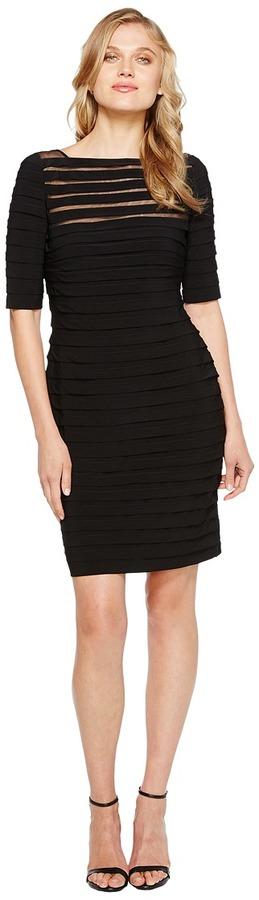 Adrianna Papell Partial Tuck Long Sleeve Dress (Black) - Apparel