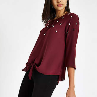 River Island Womens Dark Red embellished cluster tie front top