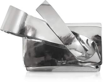 DELPOZO Silver Coated Canvas Orchid Clutch