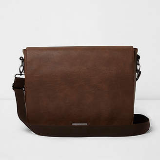 River Island Brown faux leather flapover satchel bag