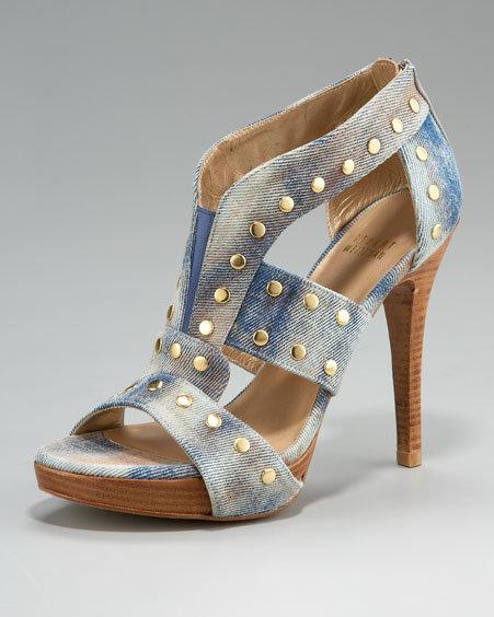 Stuart Weitzman Studded Denim Sandal