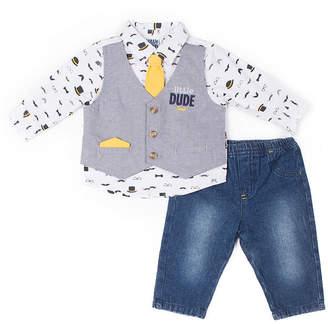 Little Lass 2-pc. Little Dude Mock Vest Set-Baby Boy