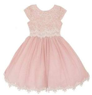 181d6d4f4b92 Rare Editions Little Girl's Sparkle Lace Pleated Dress