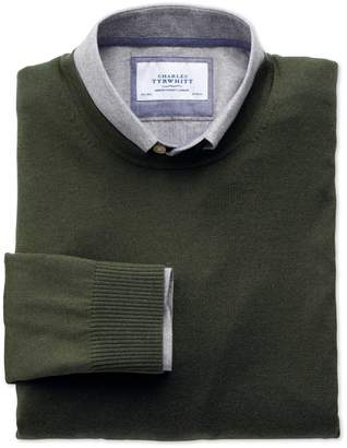 Charles Tyrwhitt Dark Green Merino Wool Crew Neck Sweater Size Large