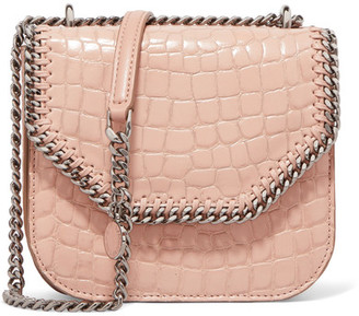 Stella McCartney - The Falabella Box Mini Croc-effect Faux Leather Shoulder Bag - Blush $910 thestylecure.com