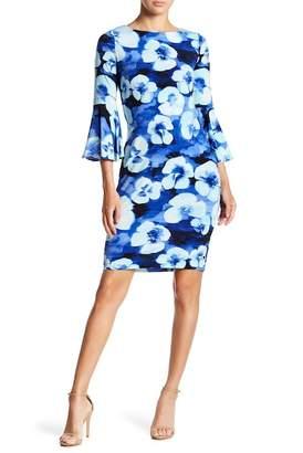 Modern American Designer Floral Bell Sleeve Dress