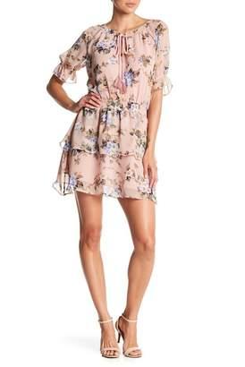 Aiden Floral Print Ruffle Split Neck Dress